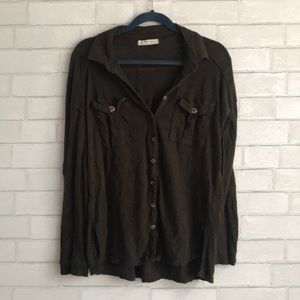 Free People Brown/Green Button Down Long Sleeve
